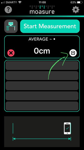 Saved Measurement in the Moasure app