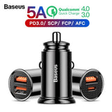 Baseus Quick Charge 4.0 3.0 Dual USB Car Charger 5A Charging