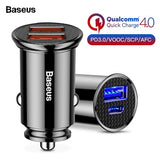Baseus Quick Charge 4.0 USB 3.0 Type C Car Charger pd quick charge