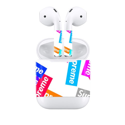 Apple Airpods Stickers Supreme Decals Stickers Colored Logo