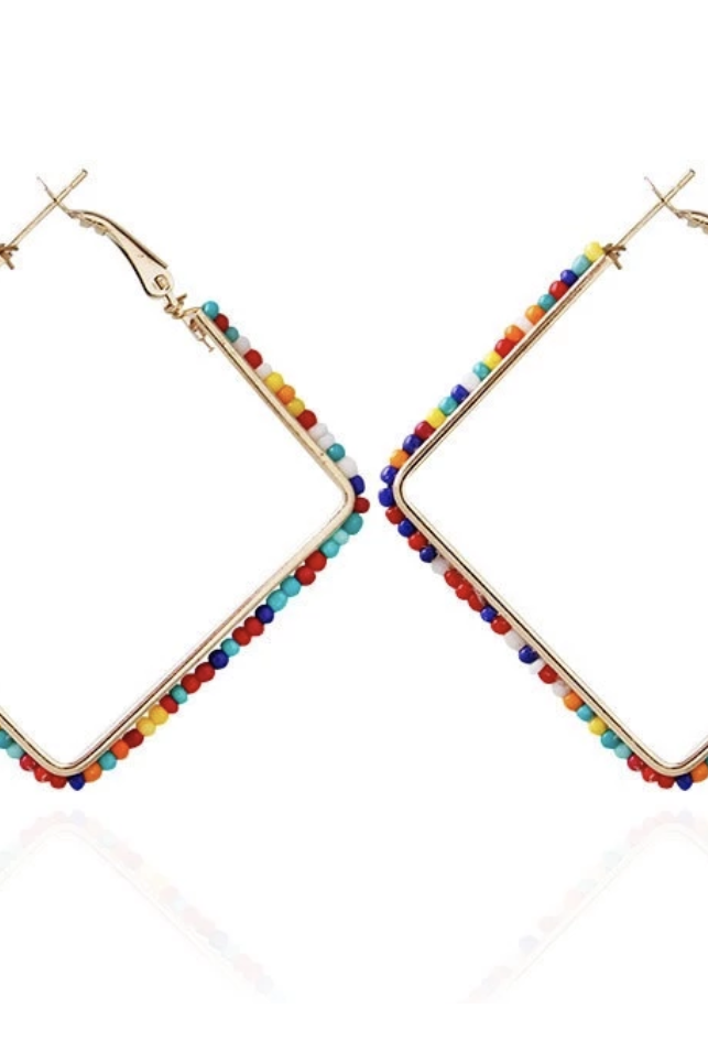 Square Bead Hoop Earrings