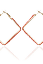 Load image into Gallery viewer, Square Bead Hoop Earrings