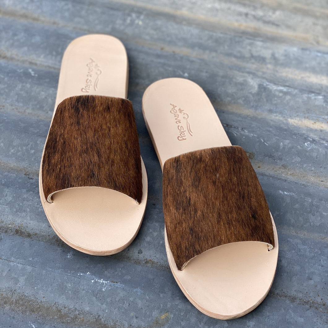 Cow Hide Slides - Size 10