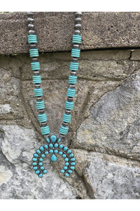 Stacked Stone Squash Blossom Necklace