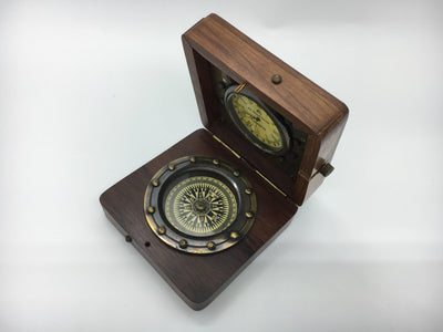 Antique Vintage Finish Brass Nautical Hiking Compass & Watch In Wooden Box