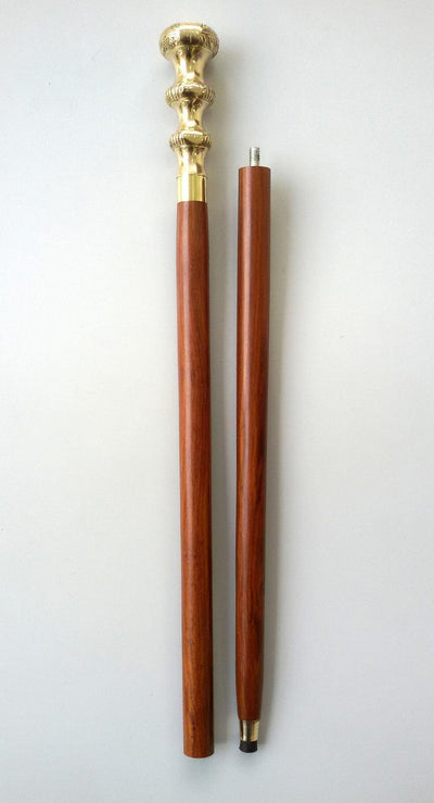 Designer Brass Knob Style Golden Handle with Brown Wooden Walking Stick Cane