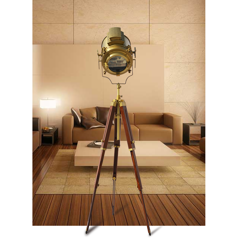 Royal Nautical Antique Heavy LED Spot Search Floor Lamp