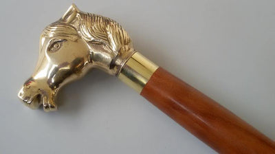 Designer Brass Horse Style Handle With Brown Wooden Walking Stick Cane