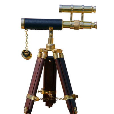 Brass Leather Stitched Telescope