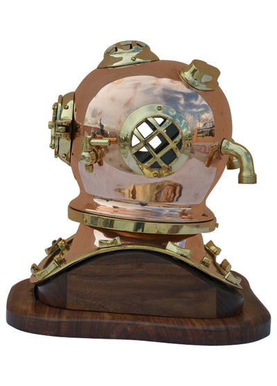 Royal Nautical Brass Helmet with Wooden Base