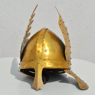 Medieval Knight Viking Helmet Armour Winged Norman Helmet