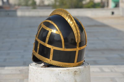 Leather & Brass Armour Helmet Home Decor