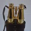 Shiny Brass Binocular With Leather Case