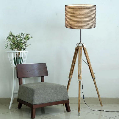 Teak Wood Floor Lamp
