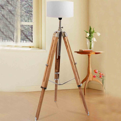 Nautical Teakwood Tripod Floor Lamp