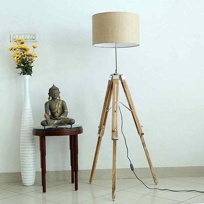 Nautical Teak Wood Floor Lamp Tripod Adjustable Lamp