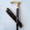 Designer Brass Victorian Stylish Handle Black Wooden Walking Stick Inlaid Cane in 3 Folds