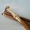 Designer Golden Brass Designer Handle Brown Wooden Walking Stick Inlaid Cane in 3 Folds