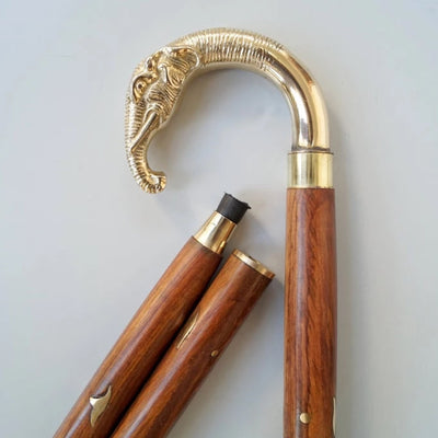 Designer Golden Brass Elephant Handle Brown Wooden Walking Stick Inlaid Cane in 3 Folds