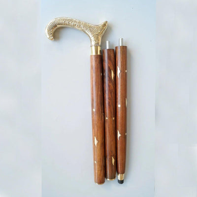 Designer Brass Decorative Handle Brown Wooden Walking Stick Inlaid Cane in 3 Folds