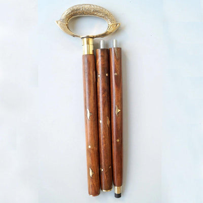 Designer Brass Rounder Handle Brown Wooden Walking Stick Brass Inlaid Cane in 3 Folds