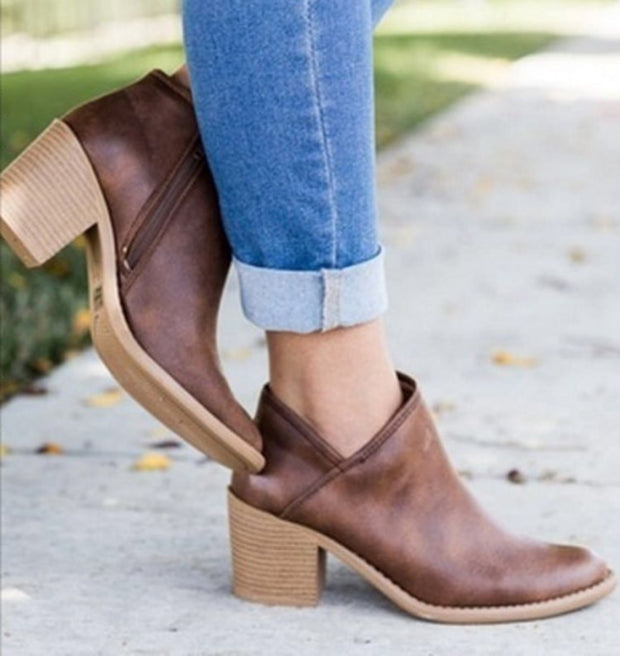 Chic Retro High Heel Ankle Boot