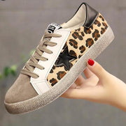 Genuine Leather Leopard Print Casual Sneaker