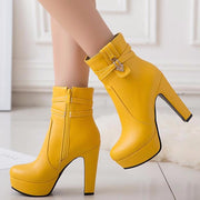 Yellow Platform Ankle Boots Boots