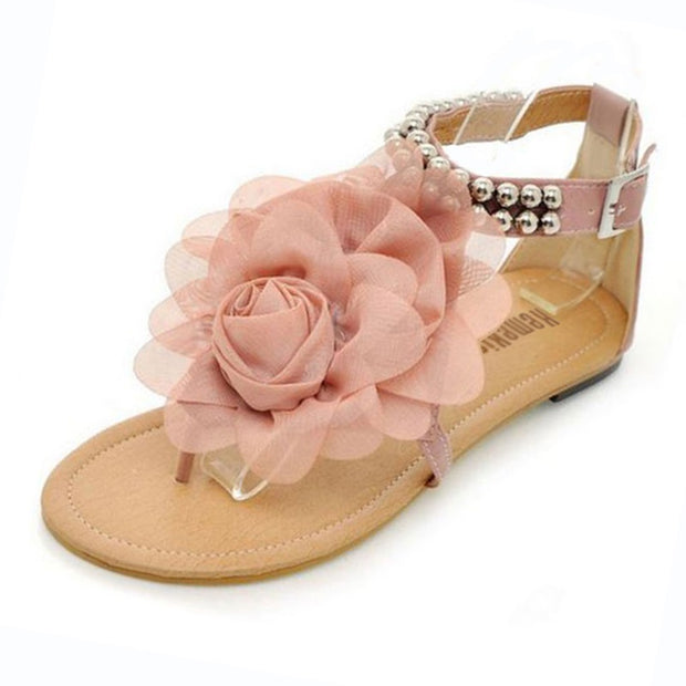 Boho Beaded Flower Flat Heel Sandals