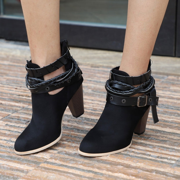 Rivet and Buckle Ankle Boots