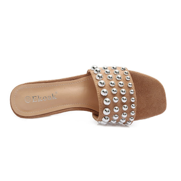 Summer high heel sandals with crystal sequin