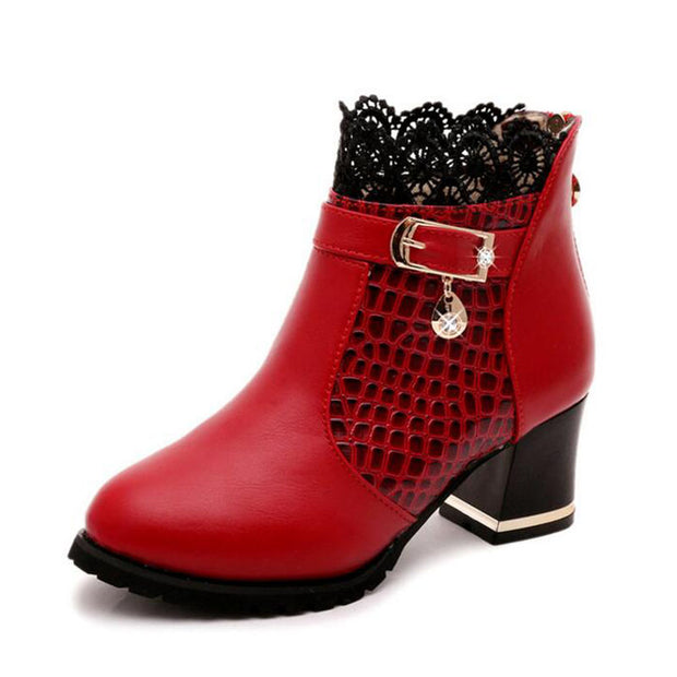 Laced Ankle Hem High Heel Ankle Boot
