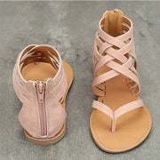 Gladiator sandals with rear zipper