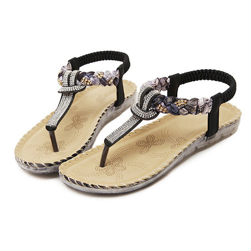Bohemian sandals with diamond strap