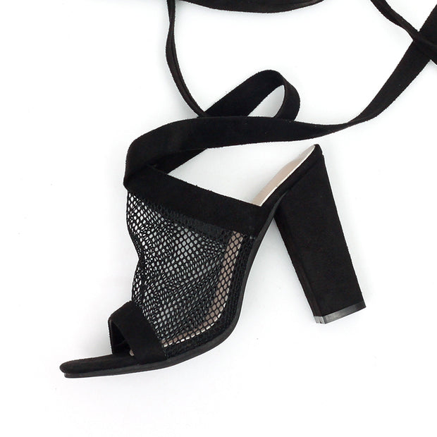 Breathable Mesh Lace Up Heels