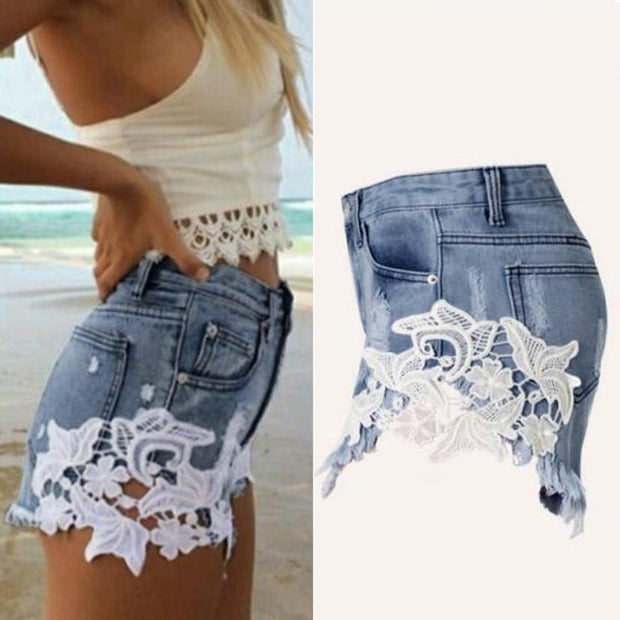 Ripped Jeans Shorts High Waist with Lace Sides