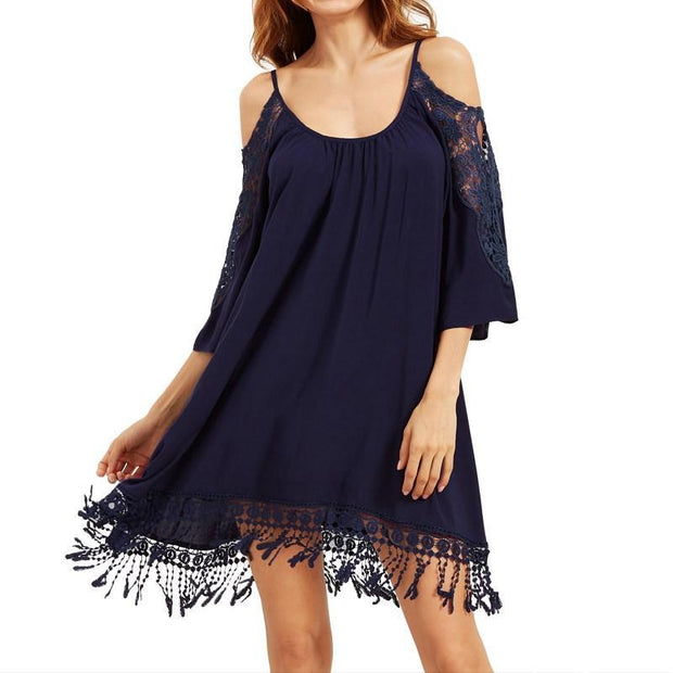 Off Shoulder Strappy Lace Crochet Loose Mini Dress