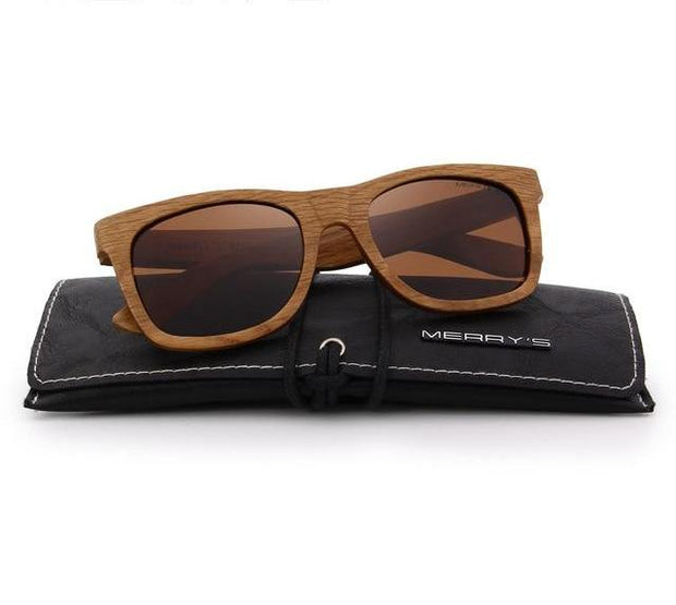 Retro Wooden Sunglasses with Polarized Lenses