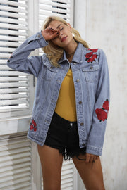 Denim jacket with floral embroidery