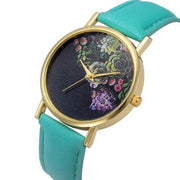 Stylish watch with floral design.