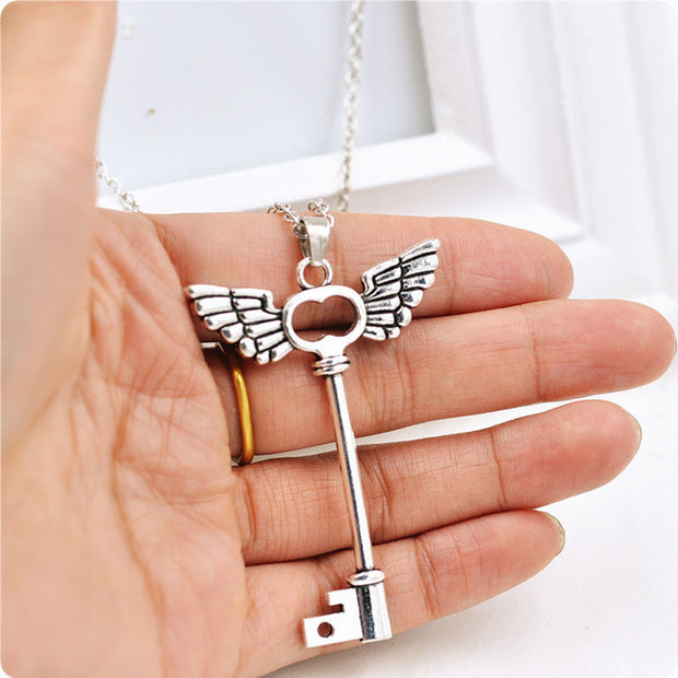Angel wings on a Key Necklace