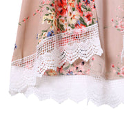 Floral short chiffon Kimono with Lace