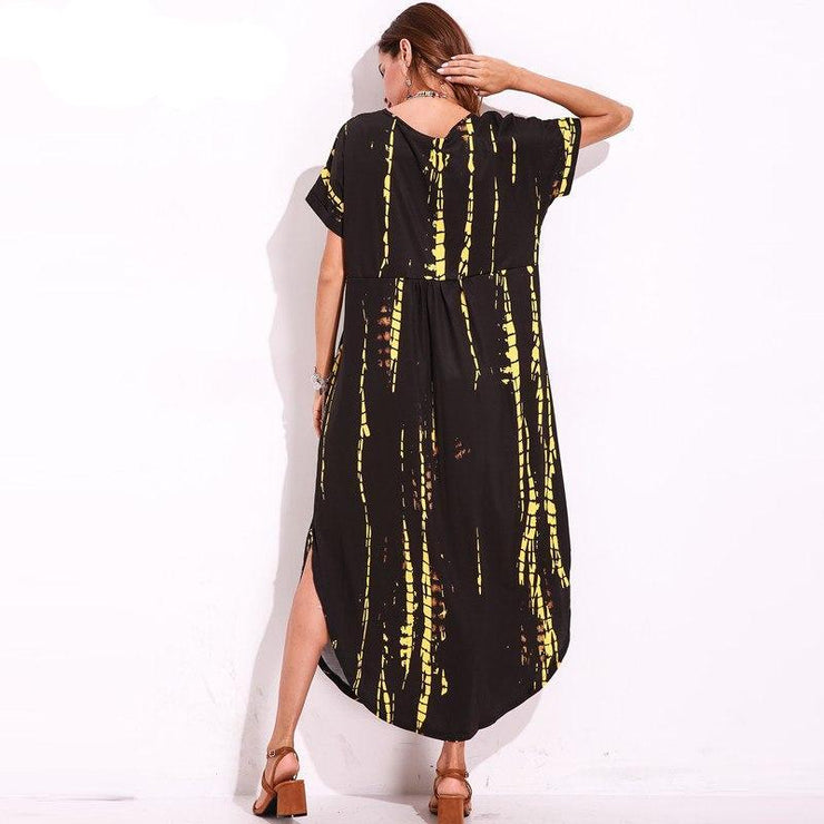 Boho Maxi Long Dress with Deep V-Neck
