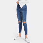 Mid Waist ripped Jeans with pearl beading