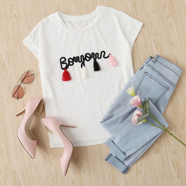 Embroidered pom-pom T-shirt