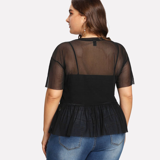Black Plus Size Floral Embroidered Short Sleeve Top