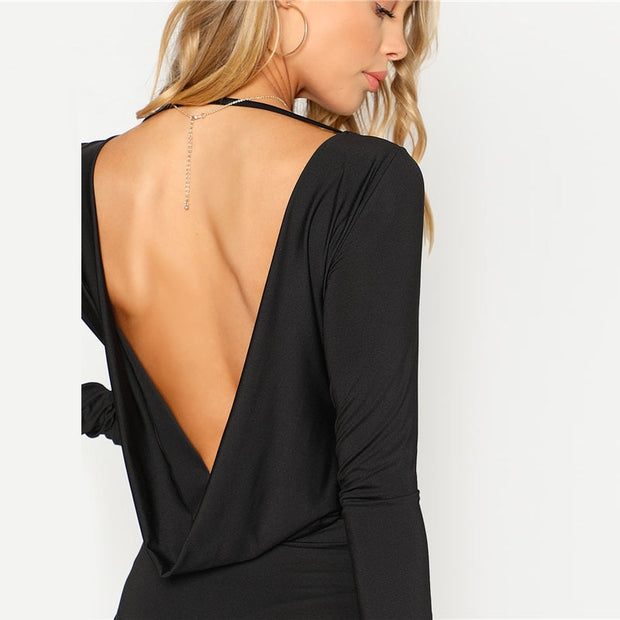 Black Draped Backless with Long Sleeve Bodysuit