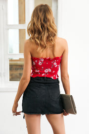 Strapless elastic floral crop top