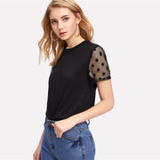 Black Polka Dot Mesh Tee