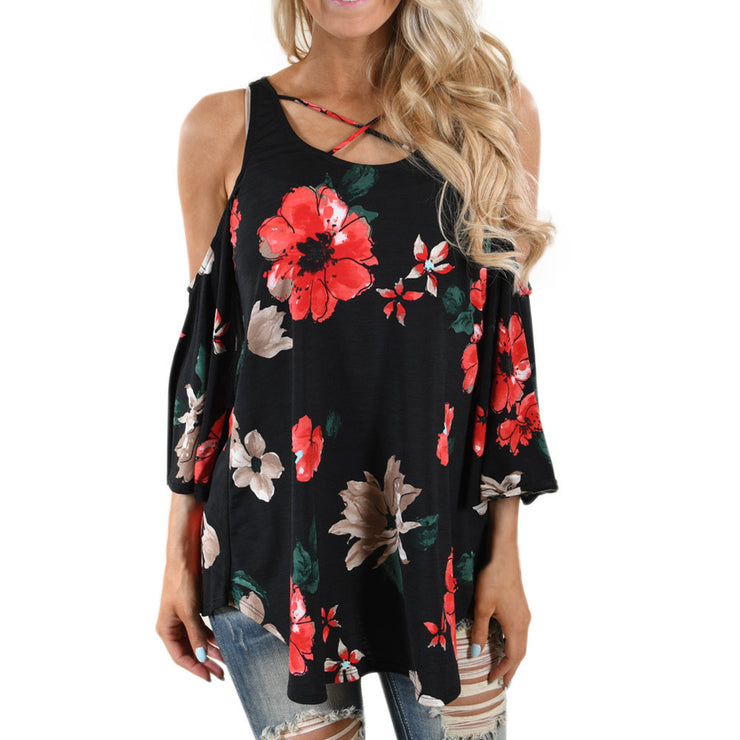 Black and Red Floral off-shoulder Shirt